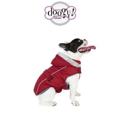 Piumino per cani rosso